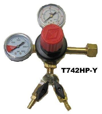Co2 Regulator With Y -dual Gauge Draft Beer Tap Kegerator-beer- T742 Hp-y