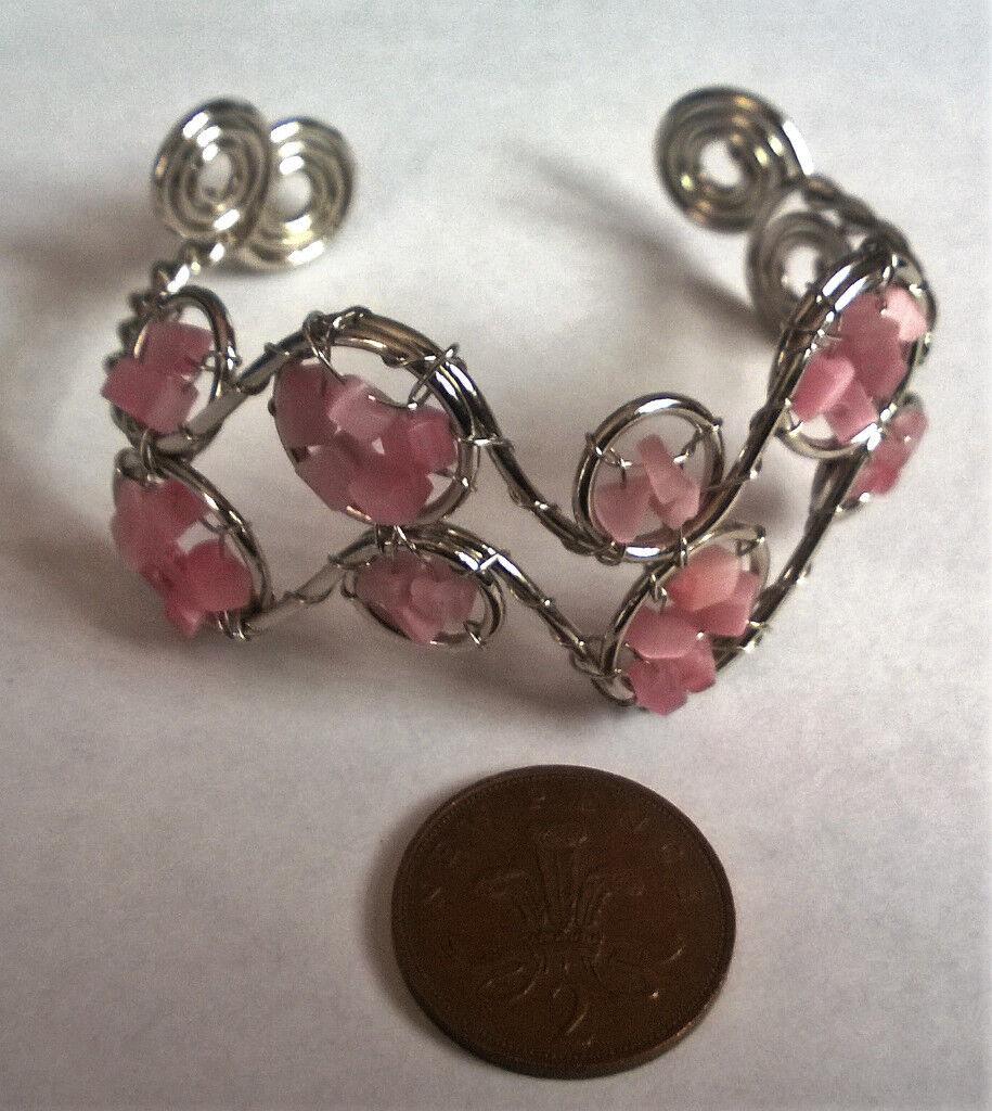 silver plated rose quartz bangle