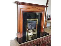 Solid Black Granite Fireplace Set