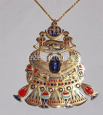 Egyptian Gift Hand Made Falcon Scarab, Eye Of Horus Enameled Gold Brass Pectoral - Egyptian Gifts