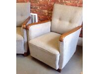 Vintage Mid Century German Armchairs Lounge chairs fireside club chairs