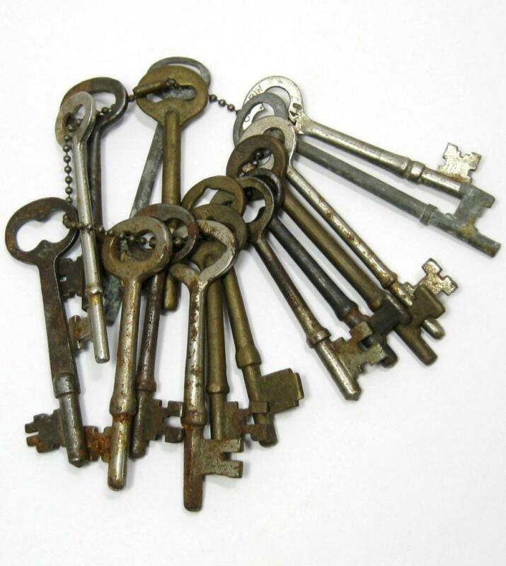 Antique Lot of 16 Skeleton Keys R&E Corbin Penn Peterson Brass Steel Vintage
