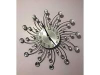 Silver Swirl Circle Clock