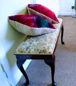 Antique stool bench Chinese silk