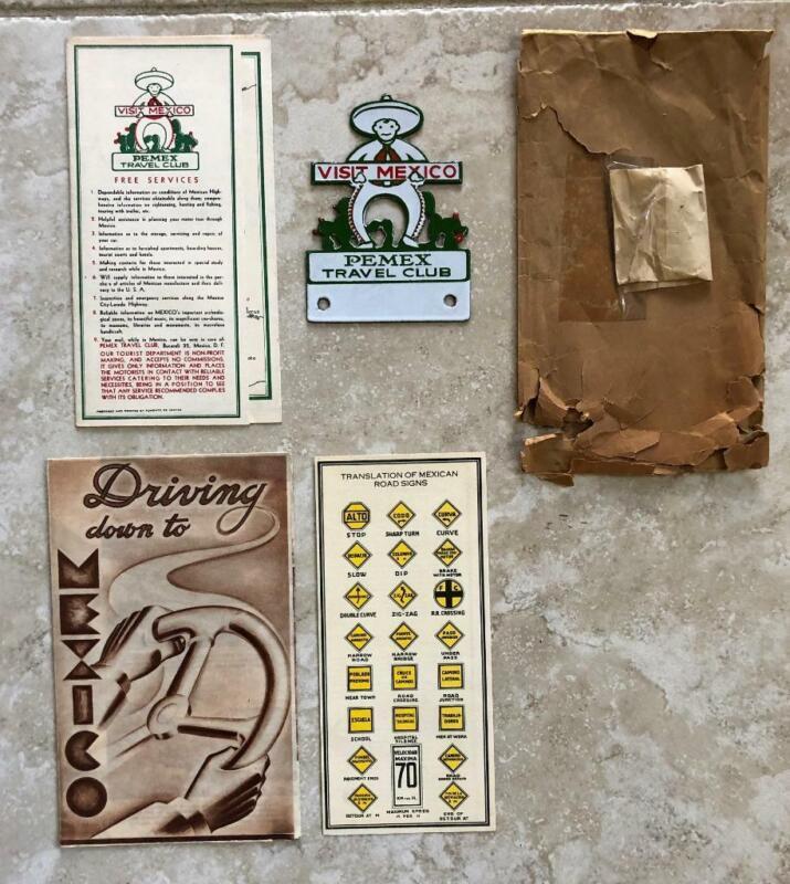 Visit Mexico Pemex Travel Club Original License Plate Frame Topper & Brochures