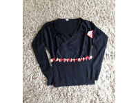 **BRAND NEW WITH TAGS** Womens size 10 black ASOS top with red & gold bows