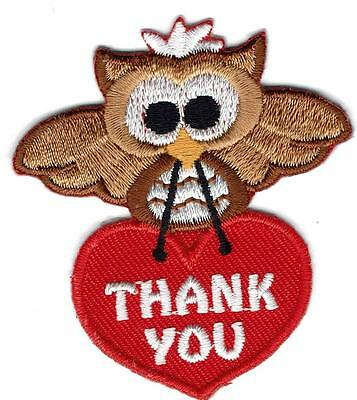 Girl Boy Cub Thank You Owl Patches Crests Badges Scout Guide Appreciate Good Job
