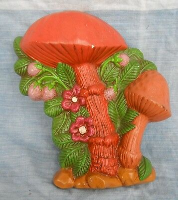 Vintage Chalkware Mushroom Plaque from THE SCHNITZEL BANK NEW ULM German Texas
