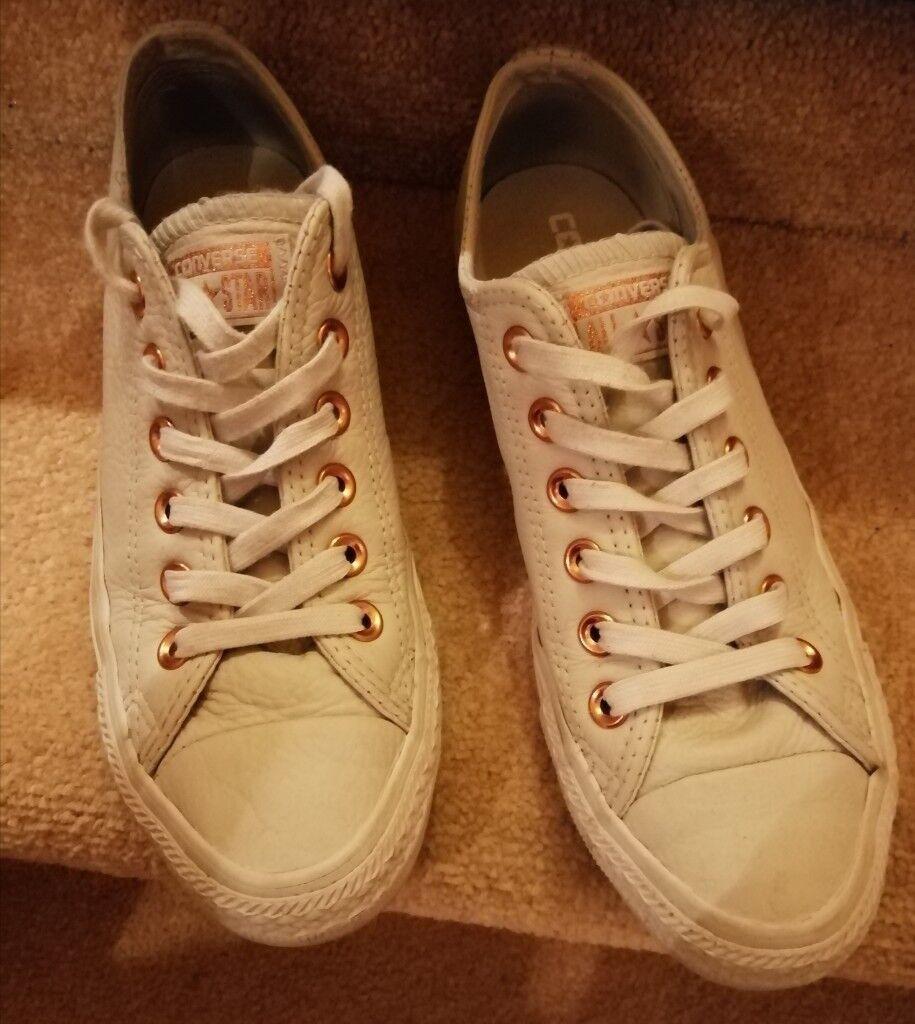 56e347c06af9ab Cream leather converse size 5