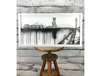 Original Salford Quays Lowry Theatre Contemporary Art Sketch Picture Framed