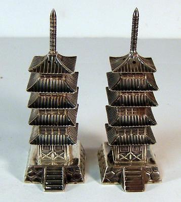 950 Japanese Sterling Silver Pagoda Sterling Salt & Pepper Shakers Japan