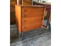 Retro Four Drawer Chest by Stag On Hair Pin Legs