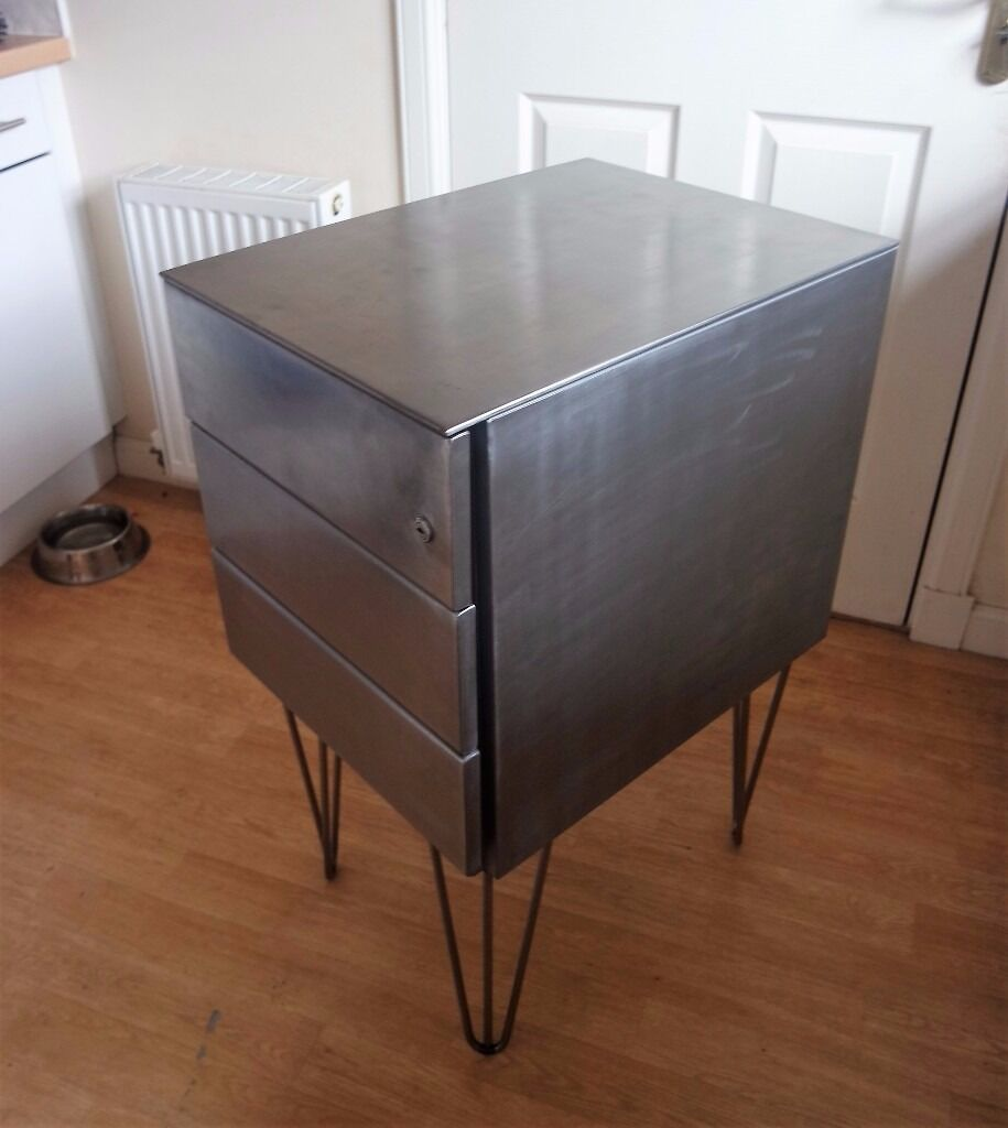 Lockable Bedroom Furniture Polished Steel Lockable Filing Cabinet With Hairpin Legs Office