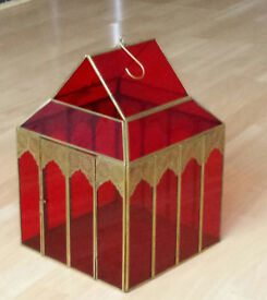 Lantern red with gold . Suitable for 3 x 3inch pillar candles. New