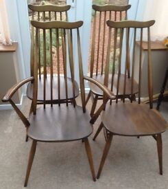 SET OF FOUR ERCOL GOLDSMITH CHAIRS (Blue label)