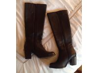 Faith knee high black leather boots size 5 brand new