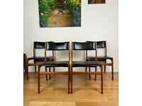 Mid Century Modern Set of 4 Danish Teak Chairs by Erik Buch for Møbler FREE LOCAL DELIVERY