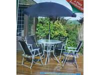 Grey and silver 6 piece kingfisher model garden patio set.