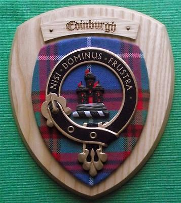 Vintage Scottish Clan Edinburgh Tartan Light Oak Plaque Crest Shield