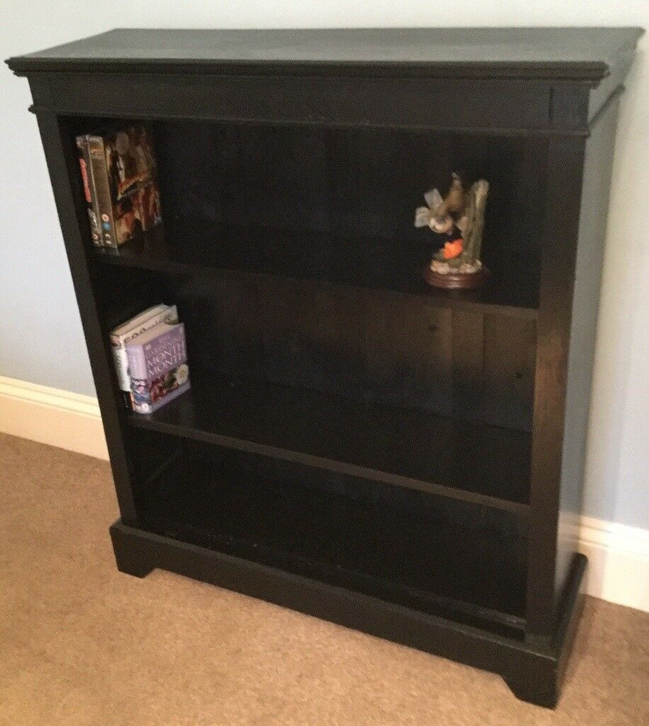 Solid Wood Vintage Retro Black Oak Bookcase 2 Adjustable Shelvesh40 5in 103cmd10in 26cmw35in 90cm In Bassaleg Newport Gumtree
