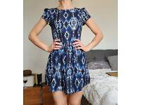 Women's summer blue pattern short dress - like new