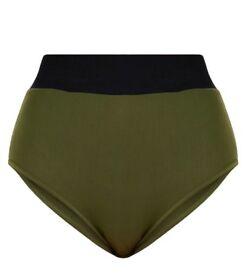 Pretty Little Thing Khaki High waisted bikini bottoms. Size 8