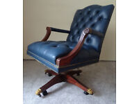 Leather Vintage Chesterfield Desk Office Captains Swivel Chair Brass Lion Feet Height AD