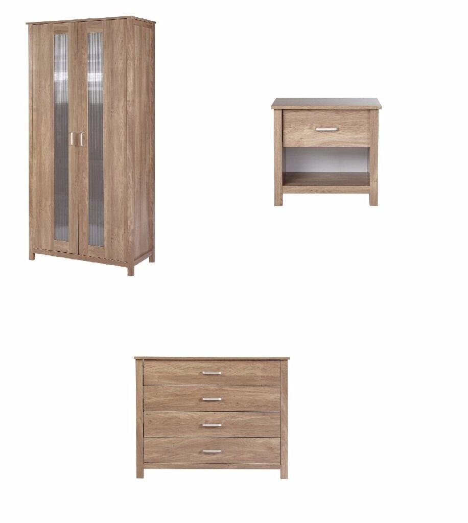 Oak Effect Bedroom Furniture Sets Brand New Oak Effect Oklahoma Bedroom Set 2 Door Wardrobe Drawers