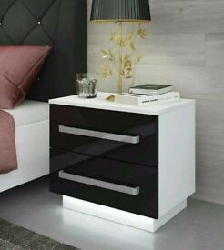 Brand New Bedside Cabinet / Table / 2 Drawers / Free LED !!! / High Gloss / Bedroom Furniture