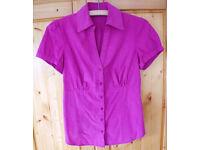 Women's New Look magenta /bright pink short sleeve shirt. Size 10.