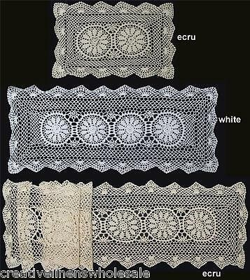 Crochet Lace Placemat Table Runner BEIGE 14x20