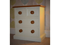 SOLID PINE SMALL CHEST OF DRAWERS - IVORY & PINE VARNISH FINISH