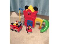 Disney Mickey Mouse Fire Station complete set and extra fire truck *excellent condition*