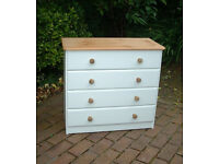 Shabby Chic Pine Chest of Drawers - 4 Drawers
