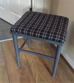 Grey tartan topped stool