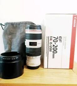 Canon EF 70-200 F4 IS image stabilised lens, immaculate condition