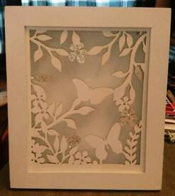 Next Butterfly LED Picture Box - White