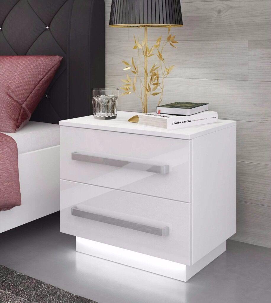 Led Bedroom Furniture Bedside Cabinet Rita 2 Drawer Free Led High Gloss