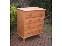 Pretty Antique Victorian Pine Chest of Drawers - 2 over 3