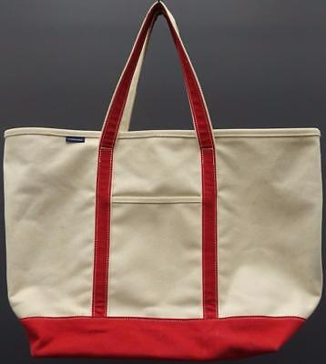 Lands End Extra Large Canvas Natural Red Overnight Shopper Beach Vacation Tote ()