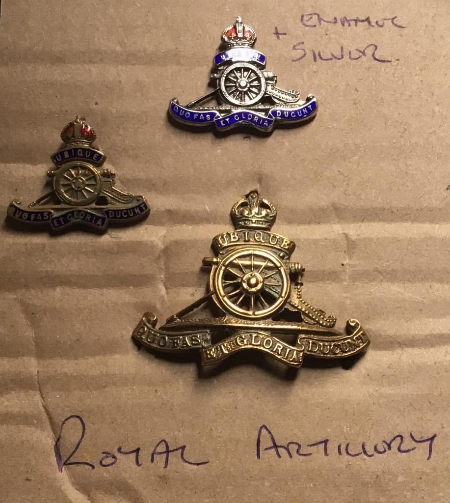 3x Royal Artillery Badges
