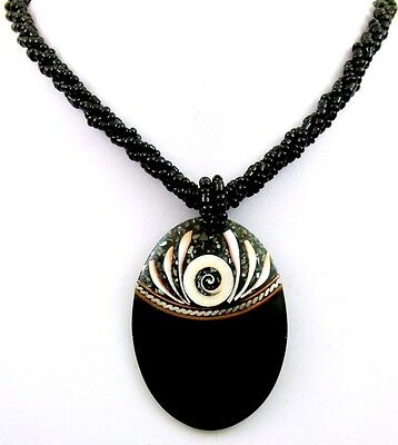 Mosaic Paua Abalone Shell Shiva Eye Pendant Beads Necklace Women Jewelry EA326