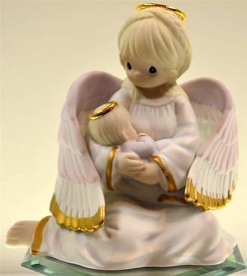 Precious Moments ANGEL HOLDING BABY GOLD METALLIC HALOS 4003179 NIB