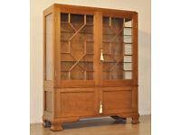 Attractive Vintage Oak Astral Glazed Display Bookcase Cabinet Cupboard