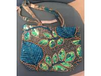 Turquoise beaded M&S Peruna Material bag new with tag.