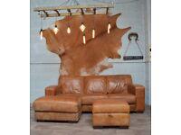 Vintage Distressed Leather Corner Sofa + Footstool Tan