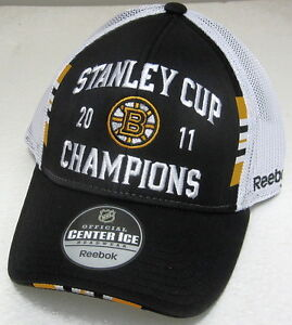 NHL Boston Bruins 2011 Stanley Cups Champions OSFA Mesh Back Fitted Hat By RBK
