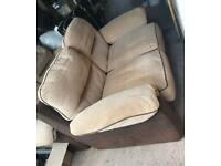 2x Cream and Brown Leather / Fabric Sofas