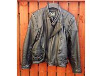 """Classic Retro"" Black Leather Motorbike Jacket & Trousers"