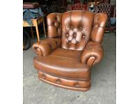 Huge brown leather Chesterfield wingback chair UK DELIVERY